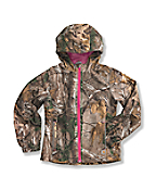 Girls' Camo Packable Hooded Rain Jacket
