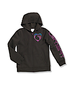 Girls' Logo Brushed Fleece Zip Front Sweatshirt