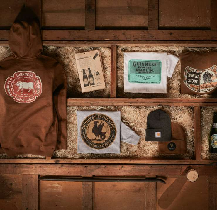 collage of Guinness X Carhartt products