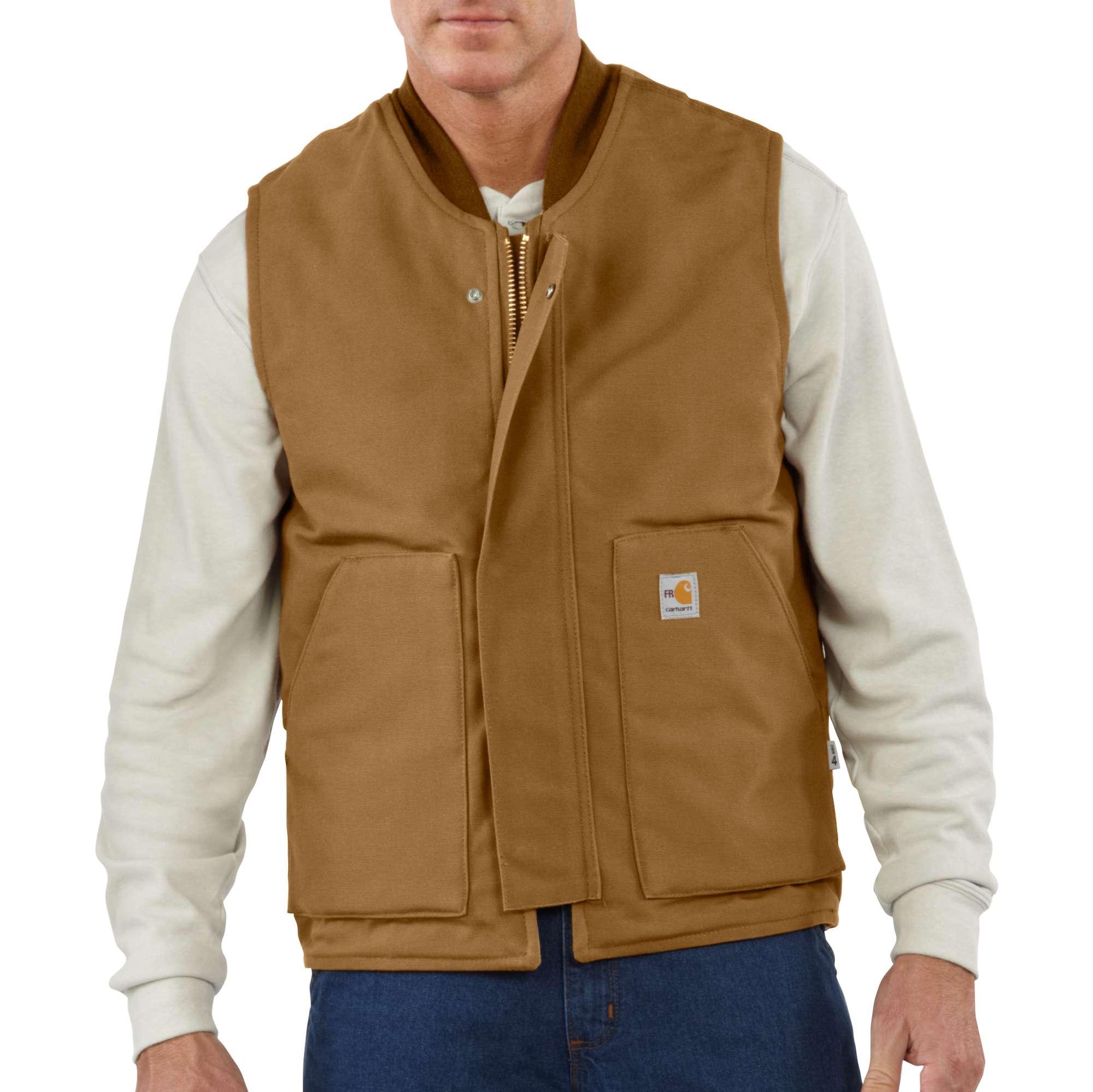 Carhartt Flame-resistant Duck Vest/quilt Lined Carhartt Brown SM