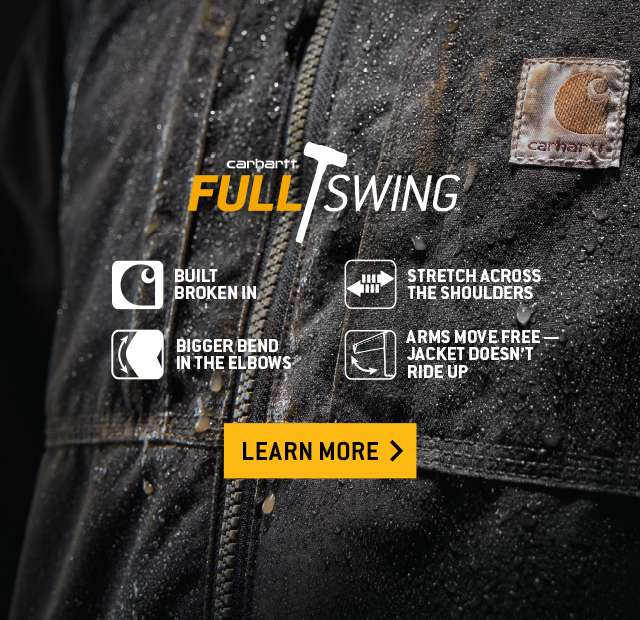 carhartt full swing. built broken in.  bigger bend in the elbows. stretch across the shoulders. arms move free. jacket doesnt ride up.  Learn more