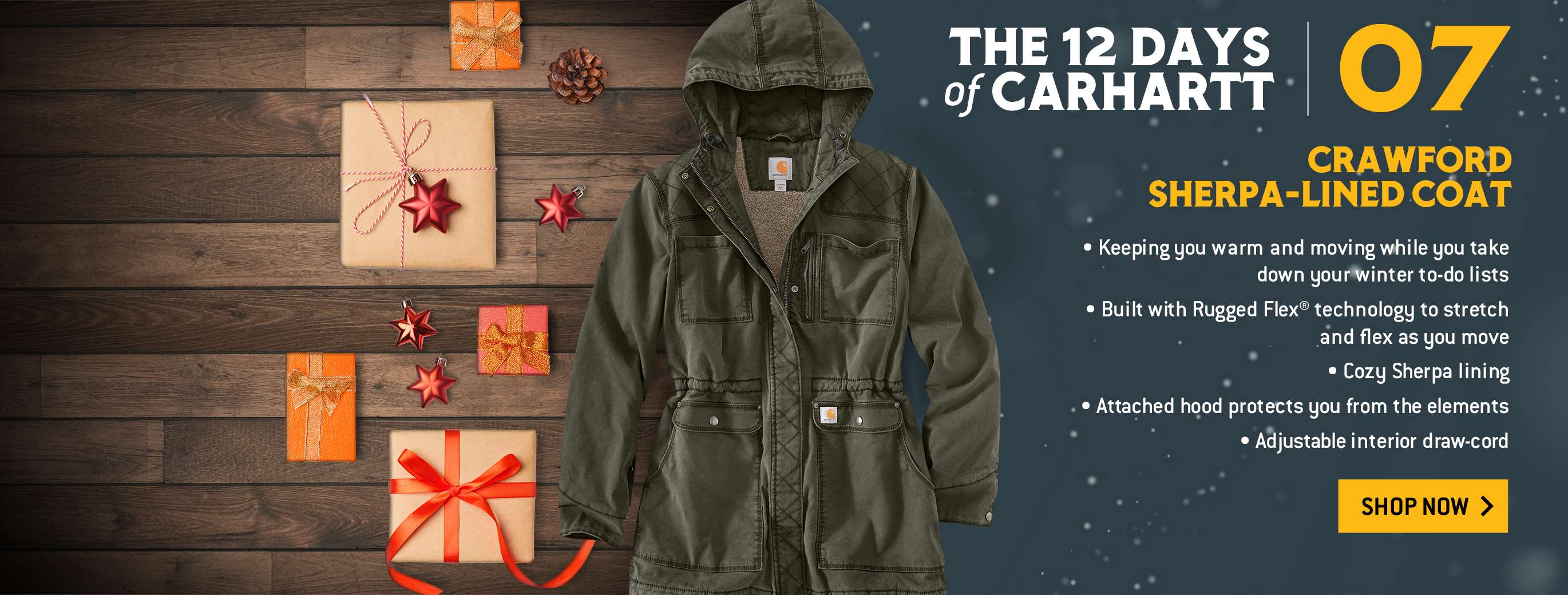 crawford sherpa lined coat, keeping you warm and moving while you take down your winter to-do lists