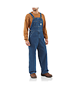 Men'PWashed Denim Bib Overall/Unlined