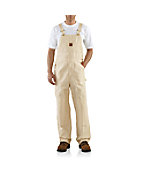 Men'PWashed Drill Work Bib Overall/Double Knee