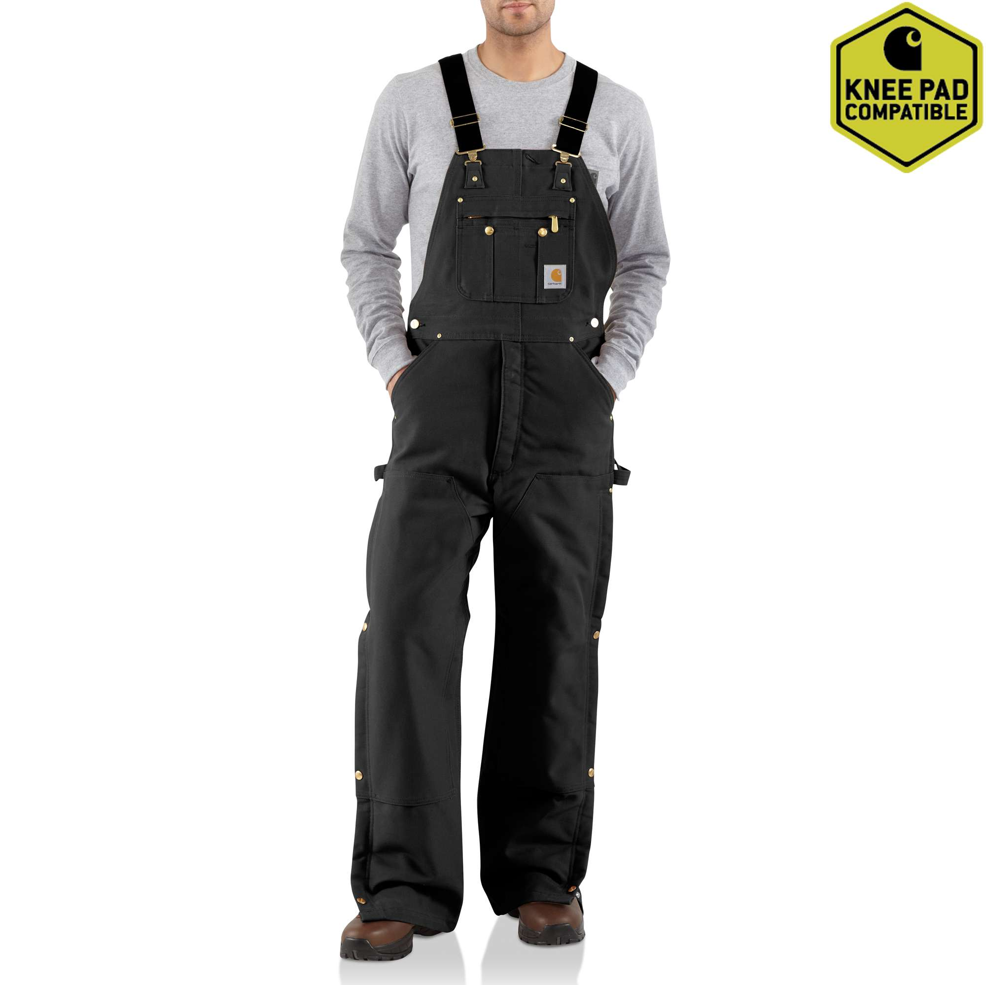 Carhartt Duck Zip-to-Thigh Bib Overall/Quilt Lined