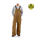 Men's Duck Zip-to-Thigh Bib Overall/Quilt Lined