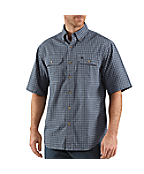 Men's Short-Sleeve Chambray Plaid Shirt