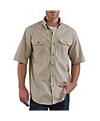 Men's Short-Sleeve Chambray Striped Shirt