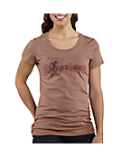 Women's Short-Sleeve Leather-And-Lace Crewneck T-Shirt