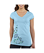 Women's Cap-Sleeve Floral V-Neck T-Shirt