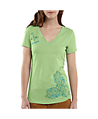 Women's Short-Sleeve Paisley V-Neck T-Shirt