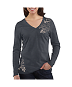 Women's Floral Lace Graphic Long-Sleeve V-Neck T-Shirt