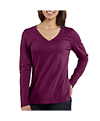 Women's Long-Sleeve Gathered V-Neck T-Shirt