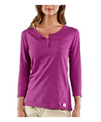 Women's Three-Quarter Sleeve Solid Slub Henley