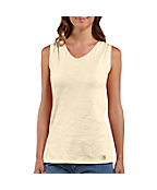 Women's V-Neck Slub Solid Tank Top