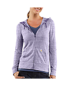 Women's Heathered Three-Quarter Roll-Up Sleeve Hoodie