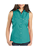 Women's Sleeveless Poplin Snap-Front Shirt