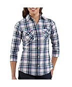 Women's Roll-Up Sleeve Plaid Poplin Shirt