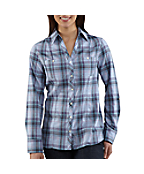 Women's Roll-Up Sleeve Button-Front Flannel Shirt