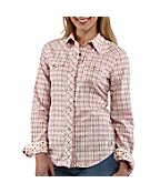 Women's Snap-Front Plaid Cotton Shirt