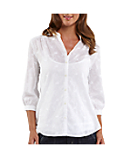 Women's Three-Quarter Sleeve Schiffli Button Down Shirt