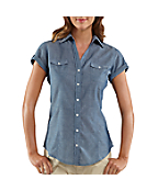 Women's Short-Sleeve Chambray Camp Shirt