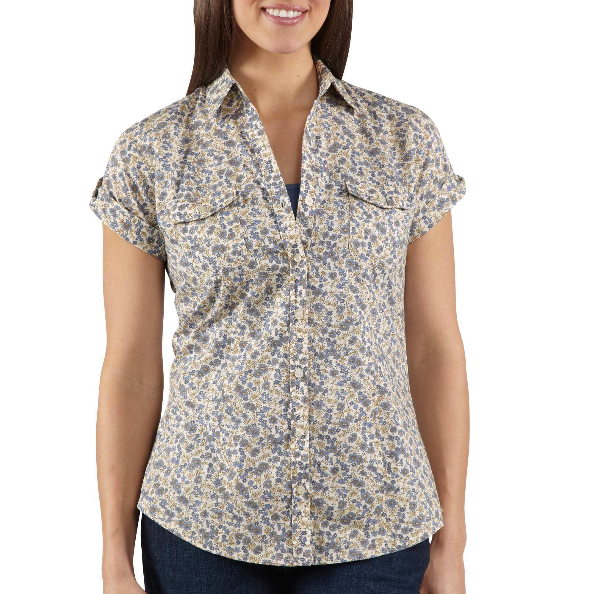 Carhartt womens short sleeve printed camp shirt ws036 ebay for Women s broadcloth shirts