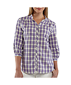 Women's Three-Quarter Sleeve Plaid Button Down Shirt