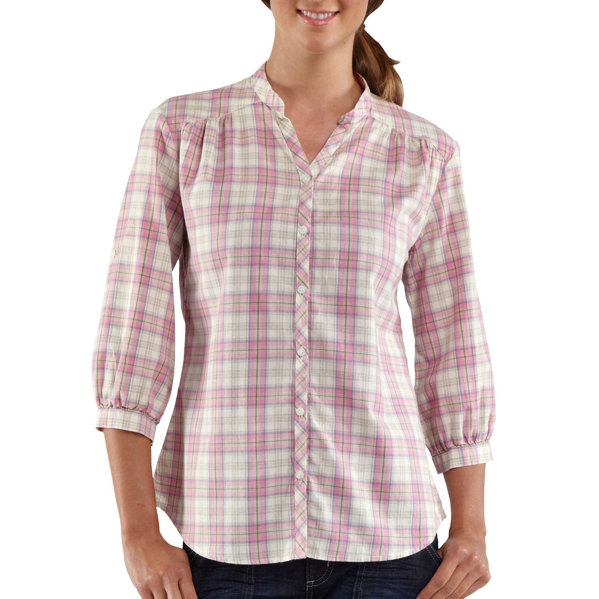 Carhartt womens three quarter sleeve plaid button down for Plaid button down shirts for women
