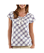 Women's Cap Sleeve Libby Plaid Woven Shirt