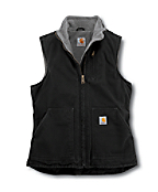 Women's Sandstone Mock-Neck Vest/Sherpa-Lined