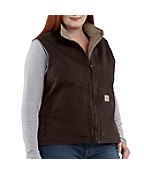 Women's Plus Sandstone Mock Vest/Sherpa-Lined