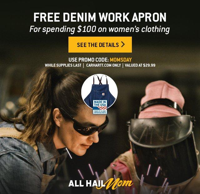 Free Denim Work Apron, For Spending $100 on women's clothing