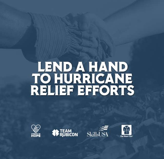 LEND A HAND TO HURRICANE RELIEF EFFORTS.