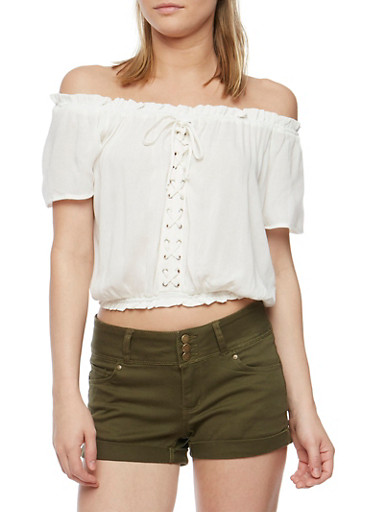 Off the Shoulder Lace Up Peasant Top,IVORY,large