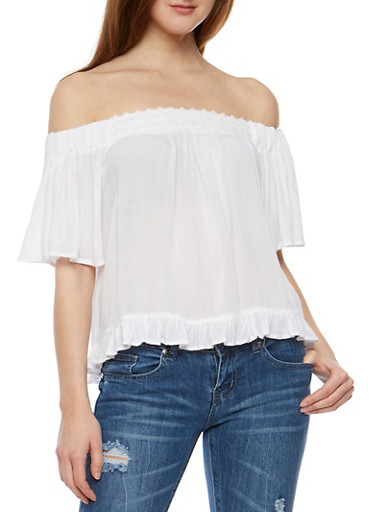 Off the Shoulder Peasant Top with Flounce Hem,WHITE,large