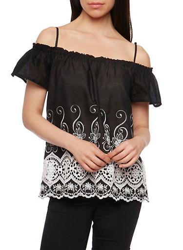 Off the Shoulder Embroidered Border Top,BLACK/WHITE,large