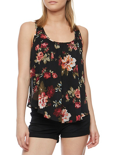 Floral Print Tank Top with Petal Hem Back,BLACK,large