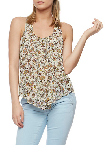 Floral Print Tank Top with Petal Hem Back,TAUPE,large