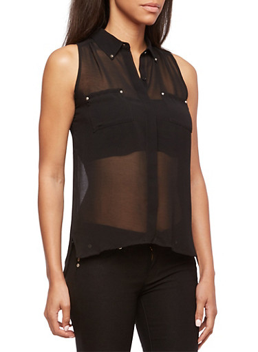 Semi-Sheer Blouse with Matte Spike Stud Accents,BLACK,large