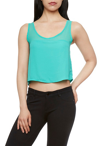 Crop Tank Top with Sheer Panel,MINT,large