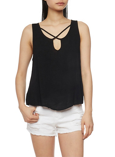 Sleeveless Caged Keyhole Neck Tank Top,BLACK,large
