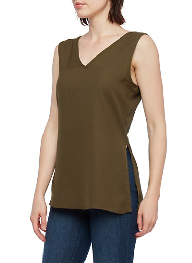 Lace-Up Back Sleeveless Top with Vented Sides,OLIVE,large