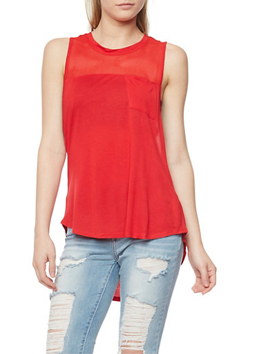 Mesh Yoke High Low Tank Top,RED,large