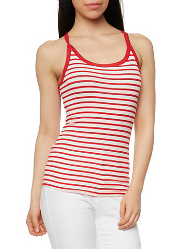 Striped Rib Knit Racerback Tank Top,RED/IVORY,large