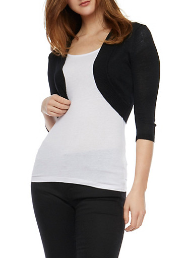 Solid Open Front 3/4 Sleeve Cardigan,BLACK,large