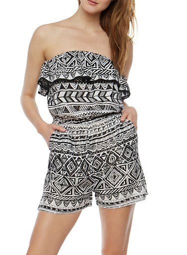 Strapless Printed Romper with Crochet Trim,WHT-BLK,large
