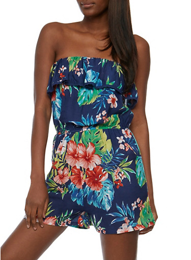 Strapless Tropical Print Romper with Ruffle Overlay,NAVY,large