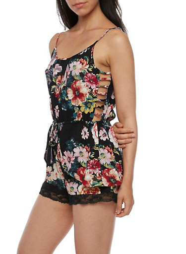 Sleeveless Printed Romper with Side Caging,BLACK,large