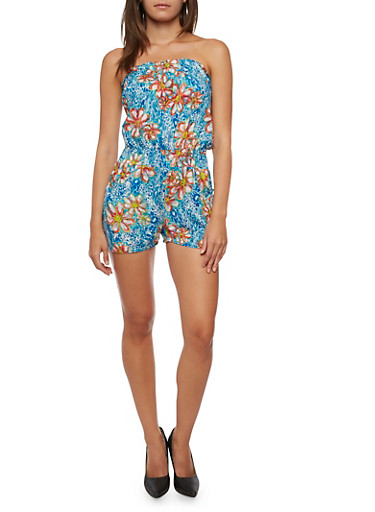 Printed Strapless Romper,BLUE/ROSE,large